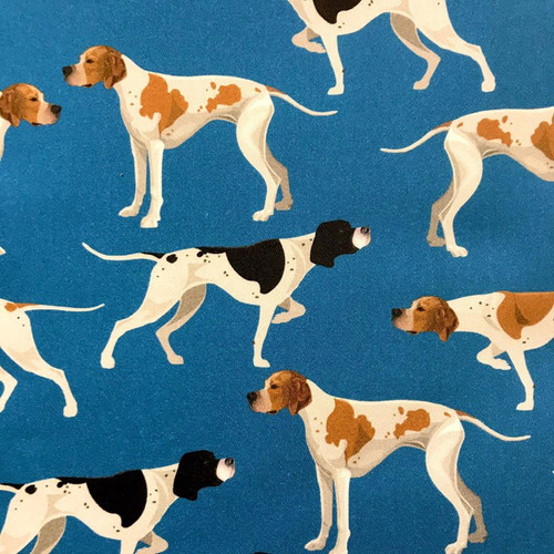 The Vintage Sweetheart Dog Breeds Pointers Blue 100% Cotton (VS Pointer - 1 METRE PIECE)