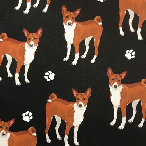 The Vintage Sweetheart Dog Breeds Basenji Black 100% Cotton (VS Basenji - 1 METRE PIECE)