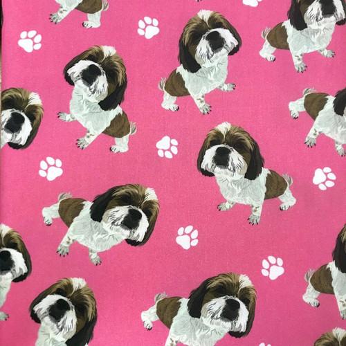The Vintage Sweetheart Dog Breeds Shih Tzu Pink 100% Cotton (VS Shih Tzu - 1 METRE PIECE)