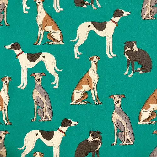 The Vintage Sweetheart Dog Breeds Whippets Teal 100% Cotton (VS Whippets - 1 METRE PIECE)