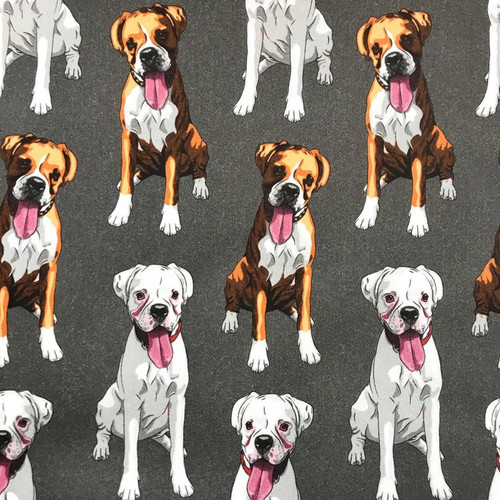 The Vintage Sweetheart Dog Breeds Boxers Grey 100% Cotton (VS Boxer - 1 METRE PIECE)