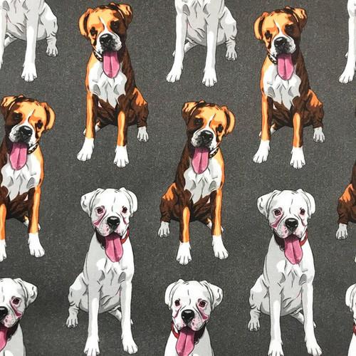 The Vintage Sweetheart Dog Breeds Boxers Grey 100% Cotton (VS Boxer - 1 METRE PIECE)