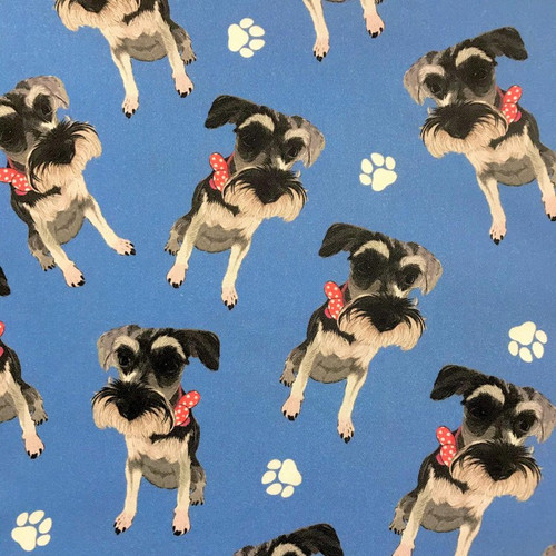 The Vintage Sweetheart Dog Breeds Miniature Schnauzer Blue 100% Cotton (VS Miniature Schnauzer - 1 METRE PIECE)