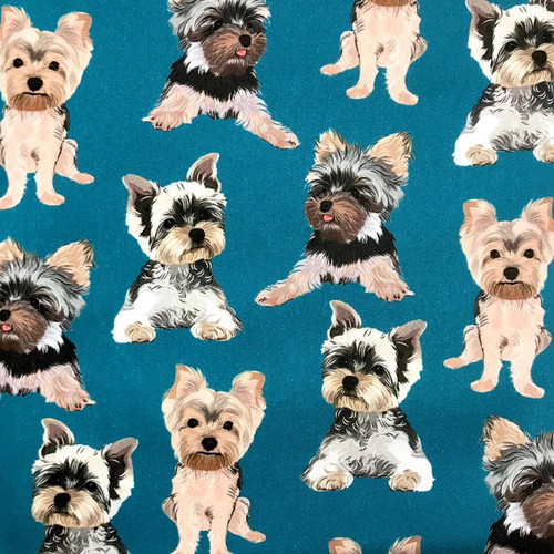 The Vintage Sweetheart Dog Breeds Yorkshire Terrier (Yorkie) Blue 100% Cotton (VS Yorkshire Terrier - 1 METRE PIECE)