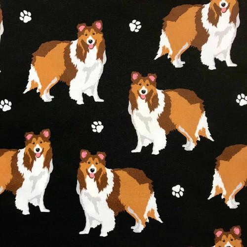 The Vintage Sweetheart Dog Breeds Shetland Sheepdog Black 100% Cotton (VS Shetland Sheepdog - 1 METRE PIECE)