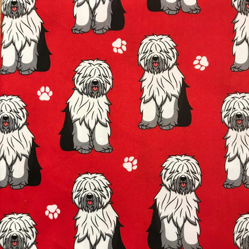 The Vintage Sweetheart Dog Breeds Old English Sheepdog Red 100% Cotton (VS Old English Sheepdog - 1 METRE PIECE)