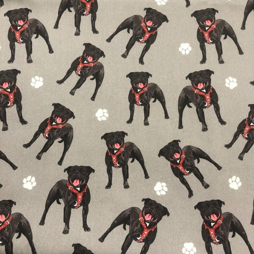 The Vintage Sweetheart Dog Breeds Staffordshire Bull Terrier (Staffie) Grey 100% Cotton (VS Staffordshire Bull Terrier - 1 METRE PIECE)