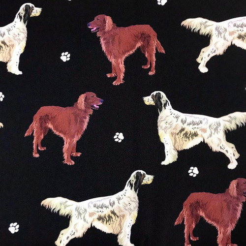 The Vintage Sweetheart Dog Breeds Red & English Setter Black 100% Cotton (VS English Setter - 1 METRE PIECE)