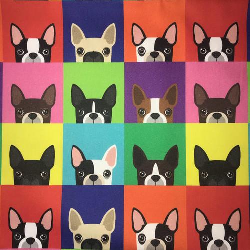 The Vintage Sweetheart Dog Breeds Patchwork Boston Terrier Multicoloured 100% Cotton (VS Boston Terrier - 1 METRE PIECE)
