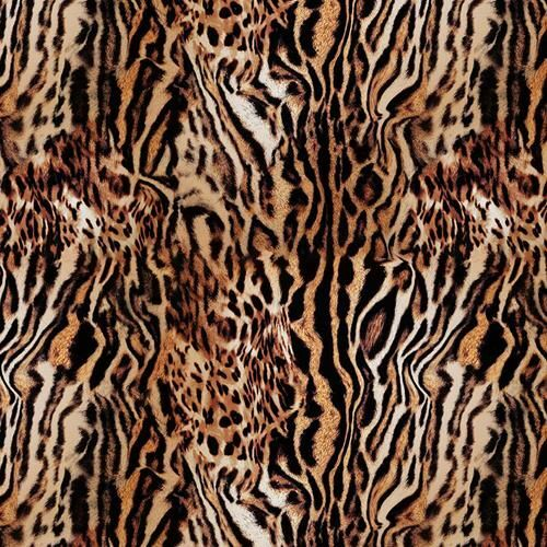 Chatham Glyn Animal Skins Tiger Print 100% Cotton Remnant (74 x 140cm CG Animal Skins 5)