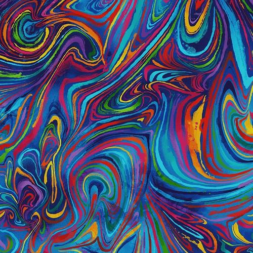 Timeless Treasures Nature Fantasy Crazy Swirl Multicoloured 100% Cotton Remnant (48 x 112cm TT Crazy Swirl)
