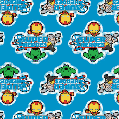 Disney Marvel Superheroes Avengers Kawaii Blue 100% Cotton Remnant (50 x 110cm Kawaii Superheroes 1)