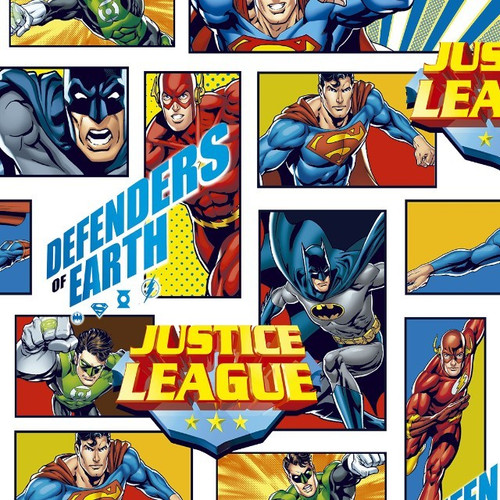 Digital DC The Justice League Superheroes Flash Green Lantern Superman Batman Patches White 100% Cotton (Remnant 57 x 150cm Defenders Of Earth)