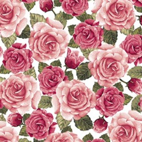 Quilting Treasures Rose Garden Packed Roses White 100% Cotton (Remnant 38 x 110cm QT Rose Garden 3)