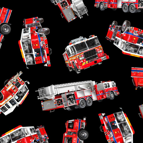 Timeless Treasures American Fire Engines On Black 100% Cotton Remnant (40 x 112cm TT Fire Engines)