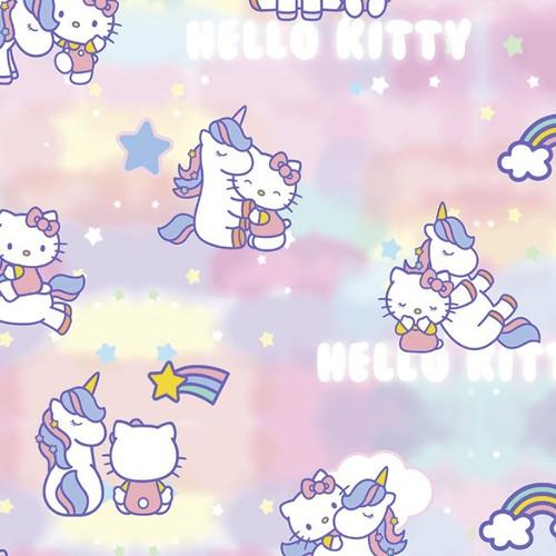 Digital Hello Kitty Unicorn Stars & Rainbows Pink 100% Cotton Remnant (42 x 150cm Hello Kitty 1)