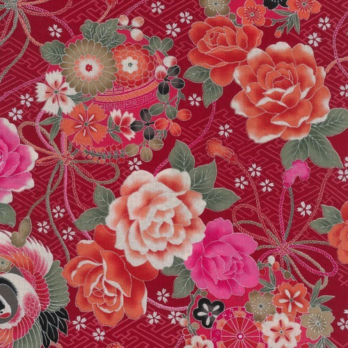 Japanese Red Floral with Oriental Pots 100% Metallic Cotton Remnant (49 x 112cm Japanese Toto 1)