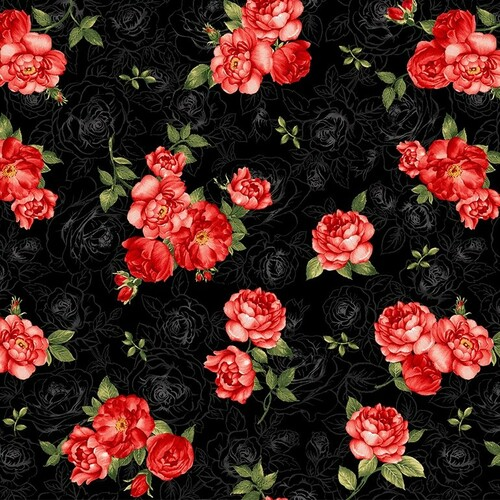 Timeless Treasures Garden Rose Small Rose Bouquets Black 100% Cotton Remnant (50 x 54cm TT Garden Roses Bouquets Black)
