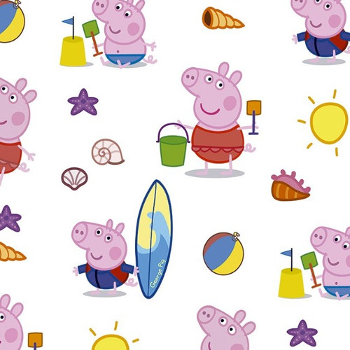 Digital Peppa Pig & George At The Beach Holiday White 100% Cotton Remnant (41 x 145cm Peppa Pig 1)