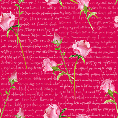 Henry Glass & Co. Love Letter Words & Pink Roses On Pink 100% Cotton (54 x 54cm HG Love Letters 5)
