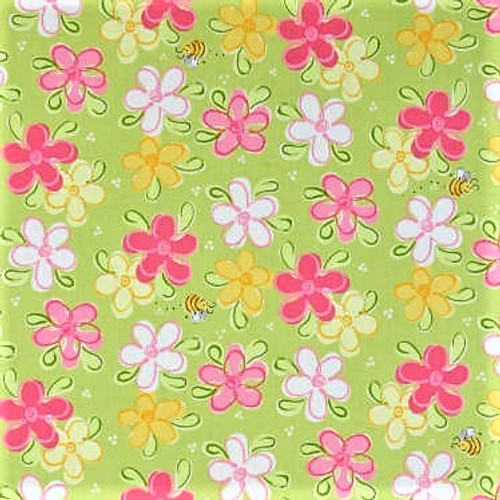 The World Of Susybee Flowers & Bees Lime Green 100% Cotton Remnant (48 x 49cm Susybee 8)