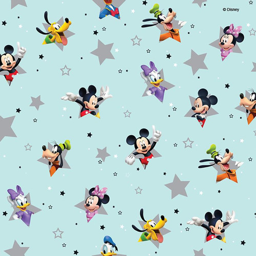 Chatham Glyn Disney Mickey Mouse & Friends Soft Blue 100% Cotton (CG Mickey 3)