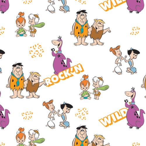 The Flintstones Gang's A Rock'n White 100% Cotton Remnant (59 x 110cm Flintstones 6)