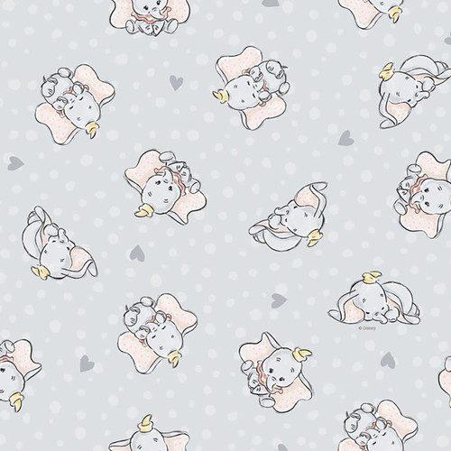 Chatham Glyn Disney Dumbo Elephant Soft Grey 100% Cotton (CG Dumbo 1)