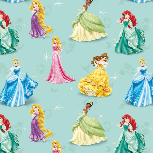 Chatham Glyn Disney Princesses Blue 100% Cotton (CG Disney Princesses 23)