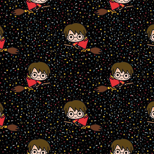 Chatham Glyn Harry Potter Kawaii Flying Broomstick Black 100% Cotton (CG Harry Potter 40)