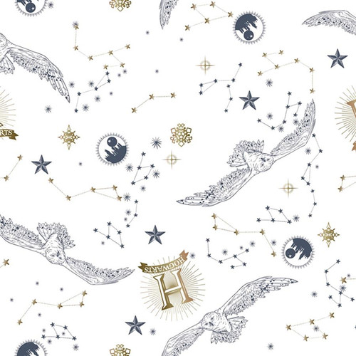 Chatham Glyn Harry Potter Hogwarts Hedwig Constellations White 100% Cotton (CG Harry Potter 41)