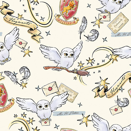 Chatham Glyn Harry Potter Hogwarts Hedwig Ivory 100% Cotton (CG Harry Potter 42)
