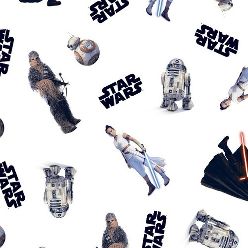 Star Wars Digital Assorted Characters White 100% Cotton Remnant (51 x 150cm Star Wars 21)