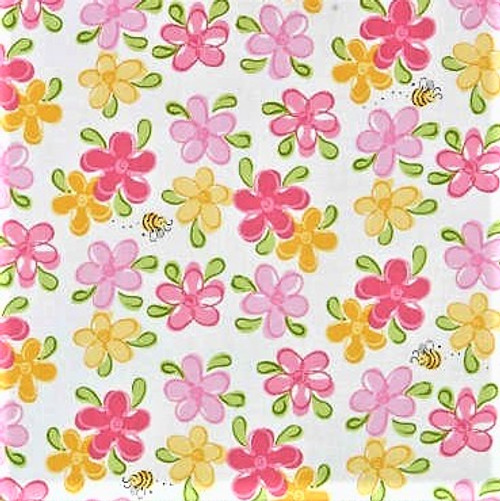 The World Of Susybee Flowers & Bees White 100% Cotton Remnant (47 x 112cm Susybee 7)