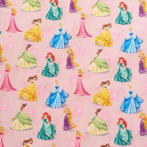 Disney Princess Ball Gowns Light Pink 100% Cotton Remnant (53 x 140cm Disney Princesses 16)