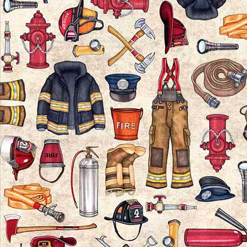 Quilting Treasures 5 Alarm Firefighter Equipment Stone 100% Cotton (QT Firefighter 2)