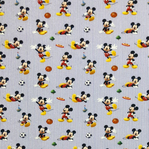 Chatham Glyn Disney Mickey Mouse Playing Sport Football, Frisbee, Basketball Blue Stripe  100% Cotton Remnant (40 x 140cm Mickey 22)