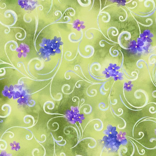 Quilting Treasures Hydrangea Blossoms Scroll & Floral Moss Green 100% Cotton (QT Hydrangea Blossoms 4)