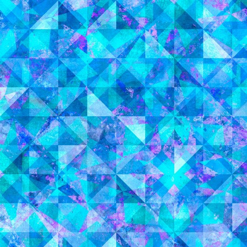 Quilting Treasures Reflections Evolution Quilted Allover Blue Aqua 100% Cotton (QT Reflections 4)