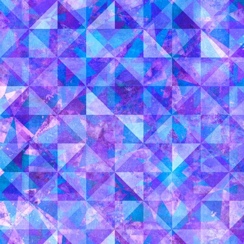 Quilting Treasures Reflections Evolution Quilted Allover Purple Blue 100% Cotton (QT Reflections 5)