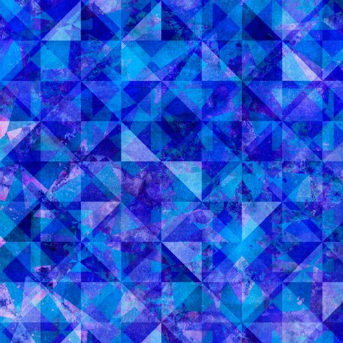 Quilting Treasures Reflections Evolution Quilted Allover Royal Blue 100% Cotton (QT Reflections 7)