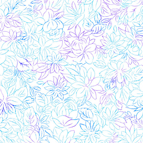 Quilting Treasures Mimosa Toile Flowers White 100% Cotton (QT Mimosa 2)