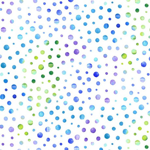 Quilting Treasures Mimosa Dots Blue White 100% Cotton (QT Mimosa 4)