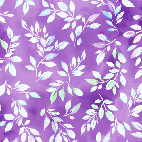 Quilting Treasures Mimosa Leaf Lilac Purple 100% Cotton (QT Mimosa 6)