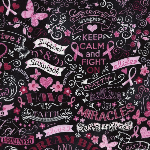 Timeless Treasures Pink Ribbons Keep Calm & Fight On 100% Cotton Remnant (43 x 112cm TT Pink Ribbon Chalkboard)