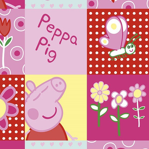 Digital Peppa Pig Patches Pink 100% Cotton Remnant (49 x 150cm Peppa Pig 4)