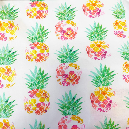 Tropicale - Pineapples White 100% Cotton Remnant (46 x 112cm Tropicale Pineapples)