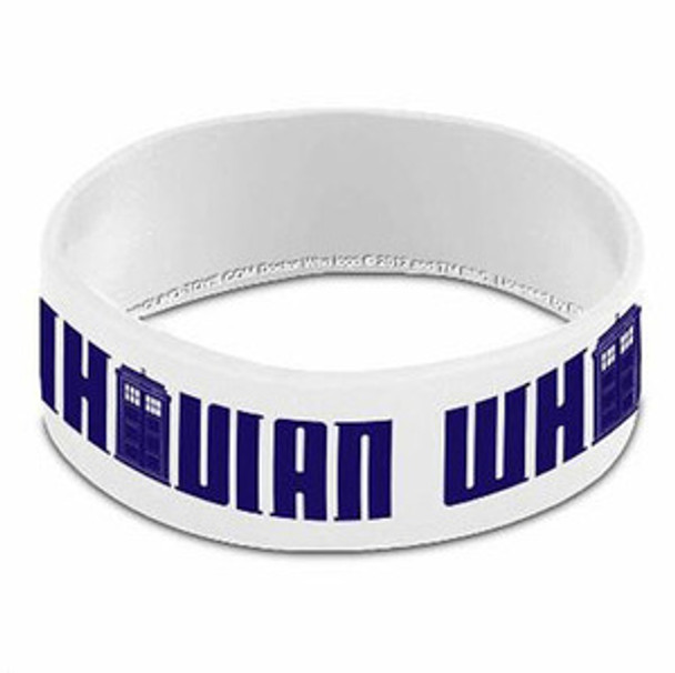Doctor Who White Whovian Rubber Wristband