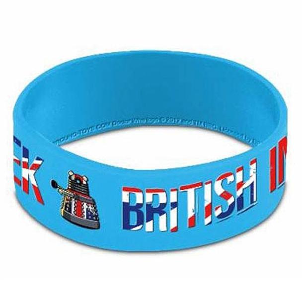 Doctor Who Dalek British Invasion Light Blue Rubber Wristband