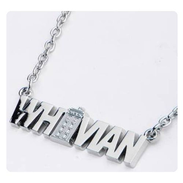 Doctor Who Whovian Nameplate Pendant with TARDIS Necklace